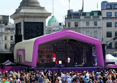Large inflatable stage cover at outdoor event