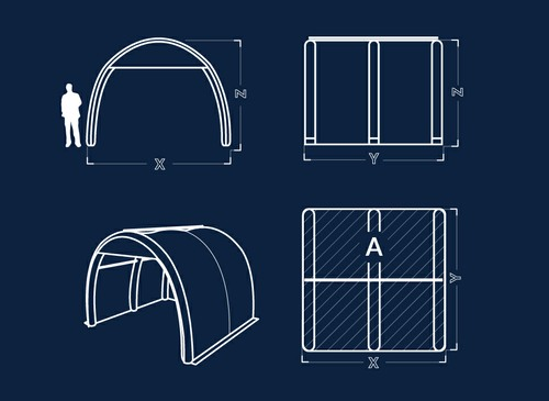 Axion Pod - Inflatable Tunnel Tent Dimensions
