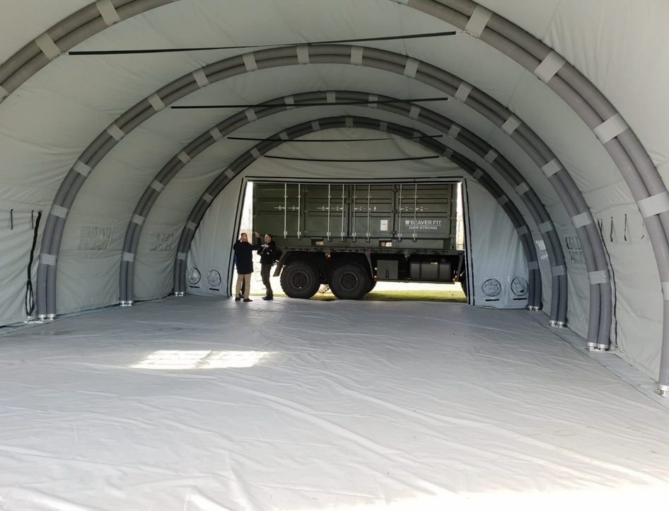 NIXUS RIBS 12m wide Rapid Deployment Shelter