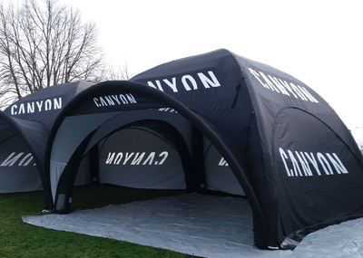 Inflatable Event Tents - 7m square inflatable event tents linked by connection tunnel