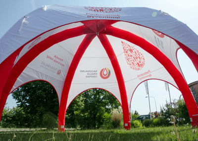 Inflatable Dome - Spider 10m Red and White