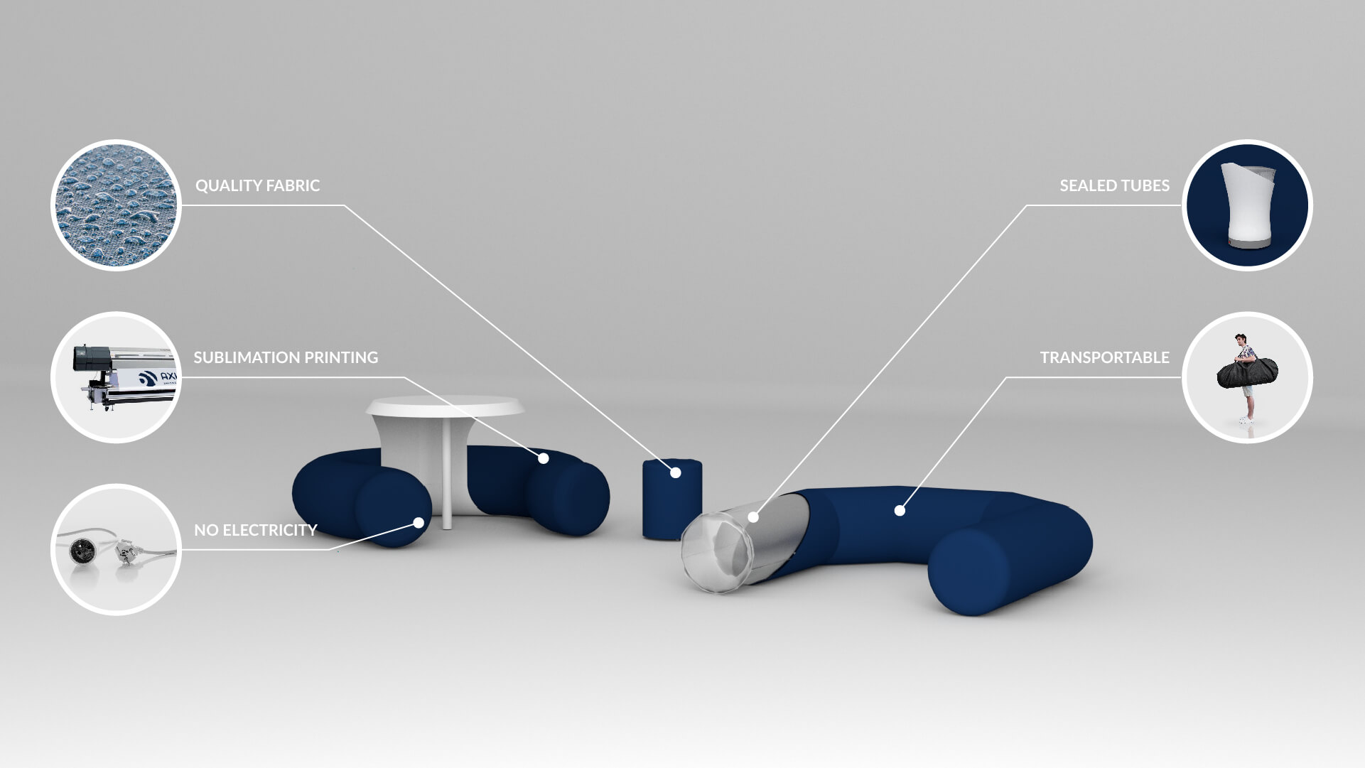 Inflatable bench seats for events - Inflatable Furniture from Inflatable Structures Ltd.
