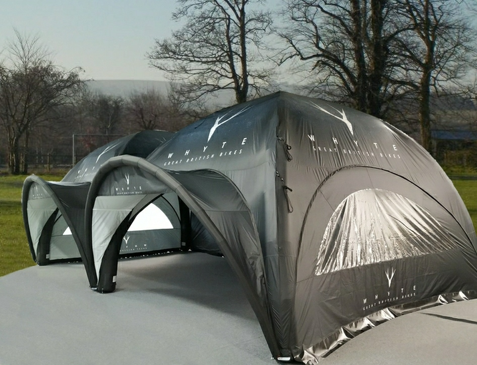 Whyte Bikes choose Axion Square Event Tents - 2 x 7m inflatable events tents provide just under 100m2 of covered floor space