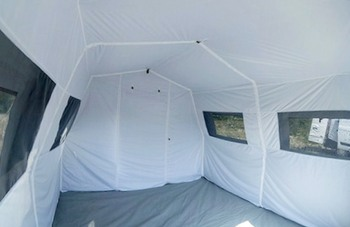 Internal medical lining of an ERA Emergency Tent. The lining enables easy disinfection