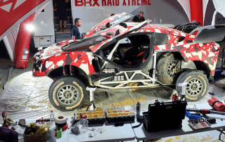 Inside one of the 4 Service Tents supplied to Prodrive for the Dakar Rally